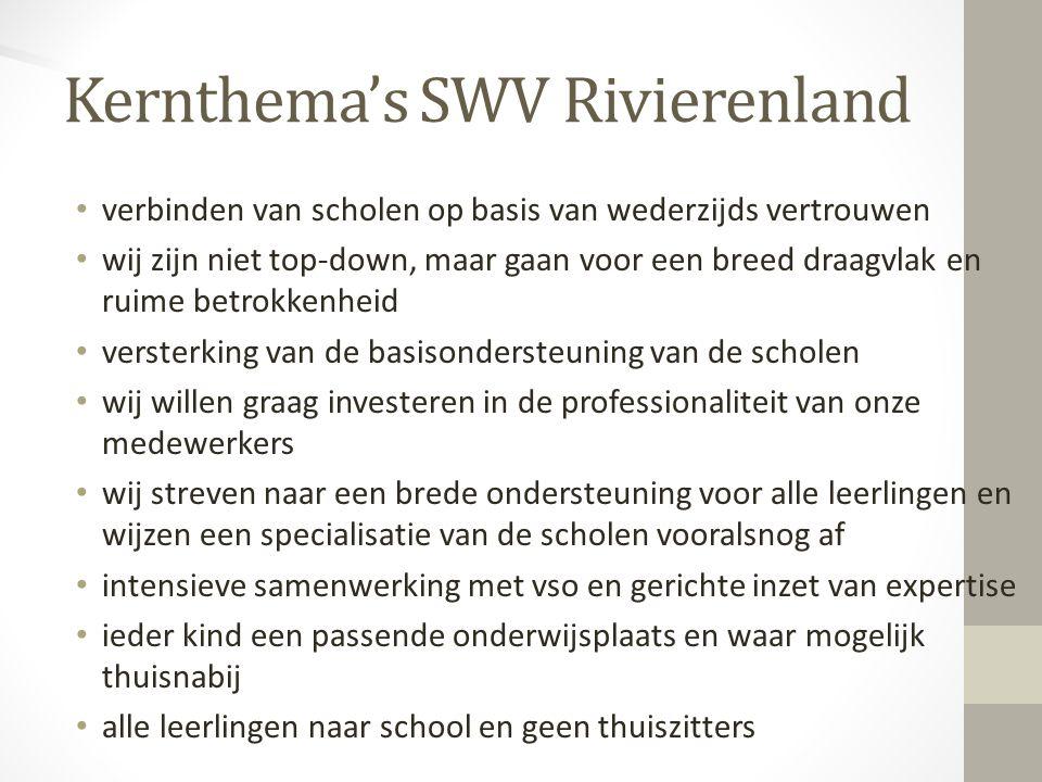 Kernthema's SWV Rivierenland verbinden van scholen op basis van wederzijds vertrouwen wij zijn niet top-down, maar gaan voor een breed draagvlak en ru