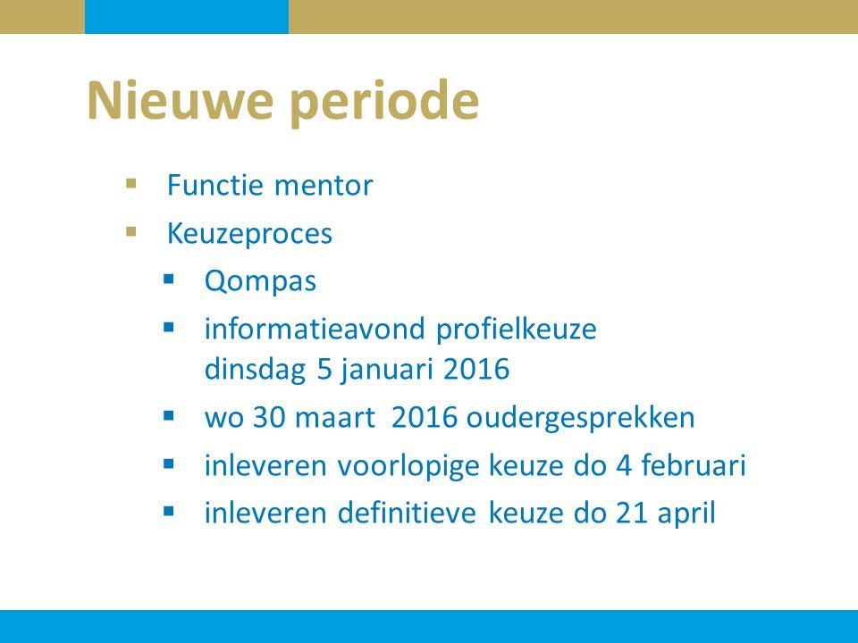 Nieuwe periode  Functie mentor  Keuzeproces  Qompas  informatieavond profielkeuze dinsdag 5 januari 2016  wo 30 maart 2016 oudergesprekken  inle