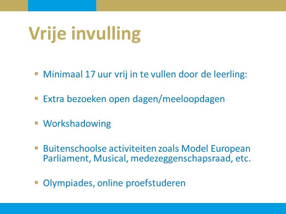  Minimaal 17 uur vrij in te vullen door de leerling:  Extra bezoeken open dagen/meeloopdagen  Workshadowing  Buitenschoolse activiteiten zoals Model European Parliament, Musical, medezeggenschapsraad, etc.