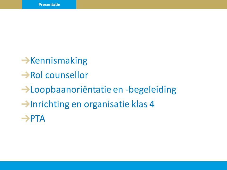 Kennismaking Rol counsellor Loopbaanoriëntatie en -begeleiding Inrichting en organisatie klas 4 PTA Presentatie