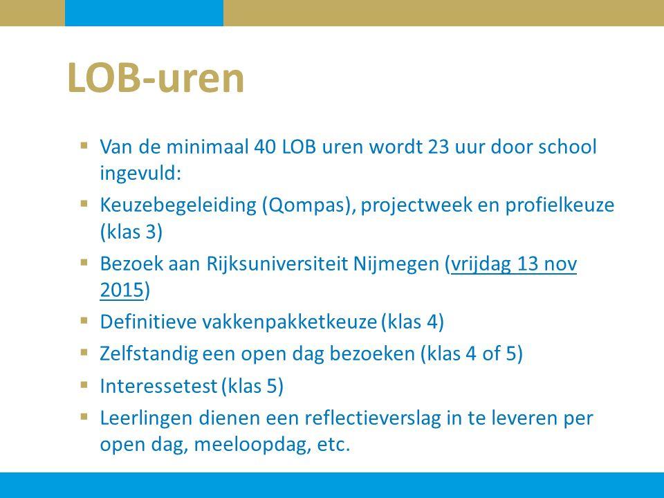  Van de minimaal 40 LOB uren wordt 23 uur door school ingevuld:  Keuzebegeleiding (Qompas), projectweek en profielkeuze (klas 3)  Bezoek aan Rijksuniversiteit Nijmegen (vrijdag 13 nov 2015)  Definitieve vakkenpakketkeuze (klas 4)  Zelfstandig een open dag bezoeken (klas 4 of 5)  Interessetest (klas 5)  Leerlingen dienen een reflectieverslag in te leveren per open dag, meeloopdag, etc.