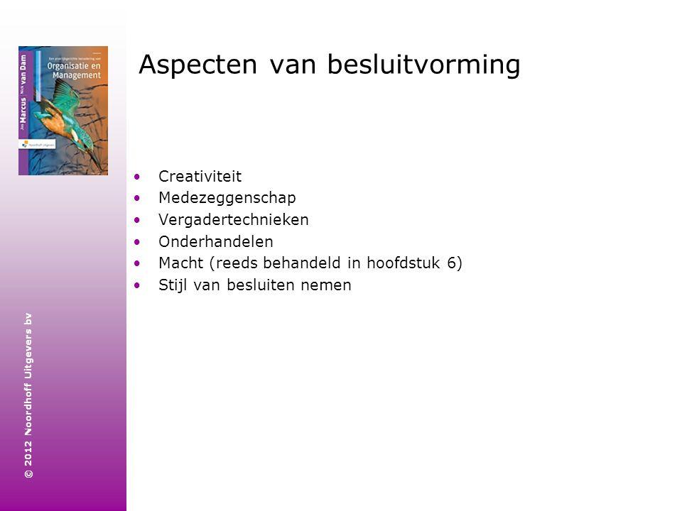 © 2012 Noordhoff Uitgevers bv Aspecten van besluitvorming Creativiteit Medezeggenschap Vergadertechnieken Onderhandelen Macht (reeds behandeld in hoof