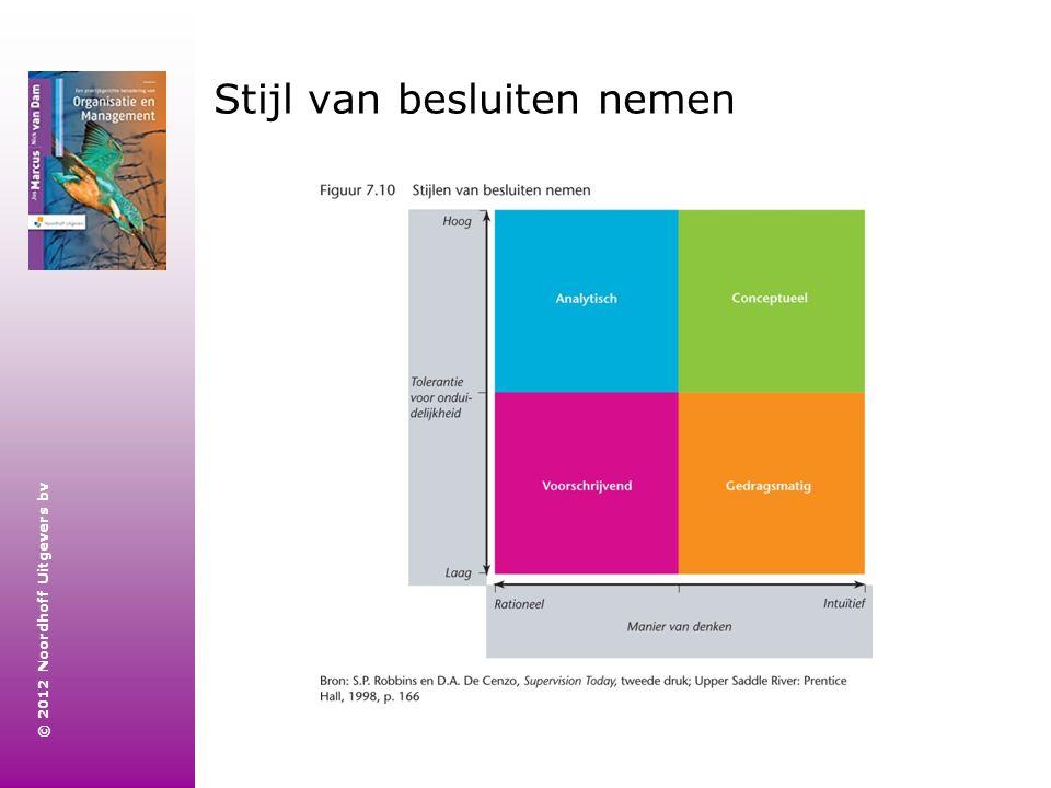 © 2012 Noordhoff Uitgevers bv Stijl van besluiten nemen