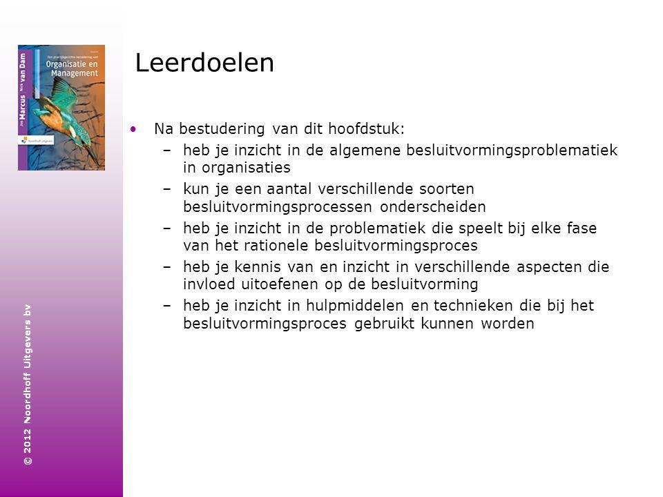 © 2012 Noordhoff Uitgevers bv Leerdoelen Na bestudering van dit hoofdstuk: –heb je inzicht in de algemene besluitvormingsproblematiek in organisaties