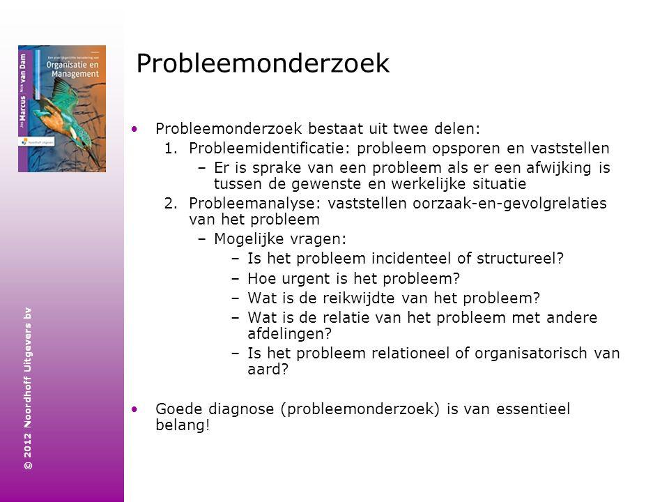 © 2012 Noordhoff Uitgevers bv Probleemonderzoek Probleemonderzoek bestaat uit twee delen: 1.Probleemidentificatie: probleem opsporen en vaststellen –E