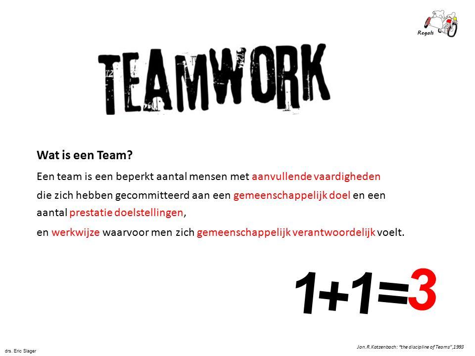 """1 + 1 = 3 Jon.R.Katzenbach: """"the discipline of Teams"""",1993 Wat is een Team? Een team is een beperkt aantal mensen met aanvullende vaardigheden die zic"""