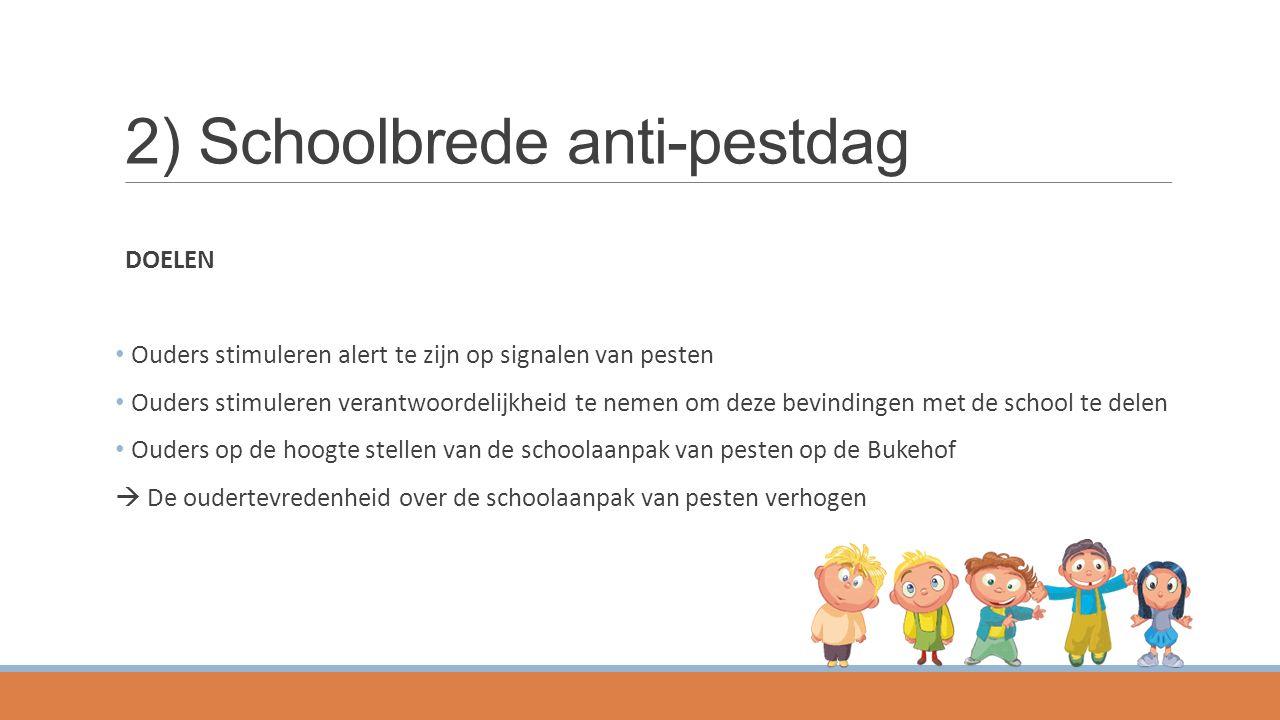 2) Schoolbrede anti-pestdag DOELEN Ouders stimuleren alert te zijn op signalen van pesten Ouders stimuleren verantwoordelijkheid te nemen om deze bevi