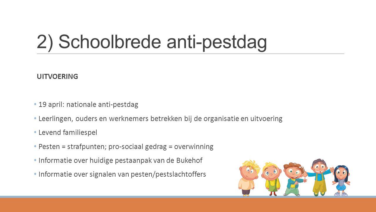 2) Schoolbrede anti-pestdag UITVOERING 19 april: nationale anti-pestdag Leerlingen, ouders en werknemers betrekken bij de organisatie en uitvoering Le