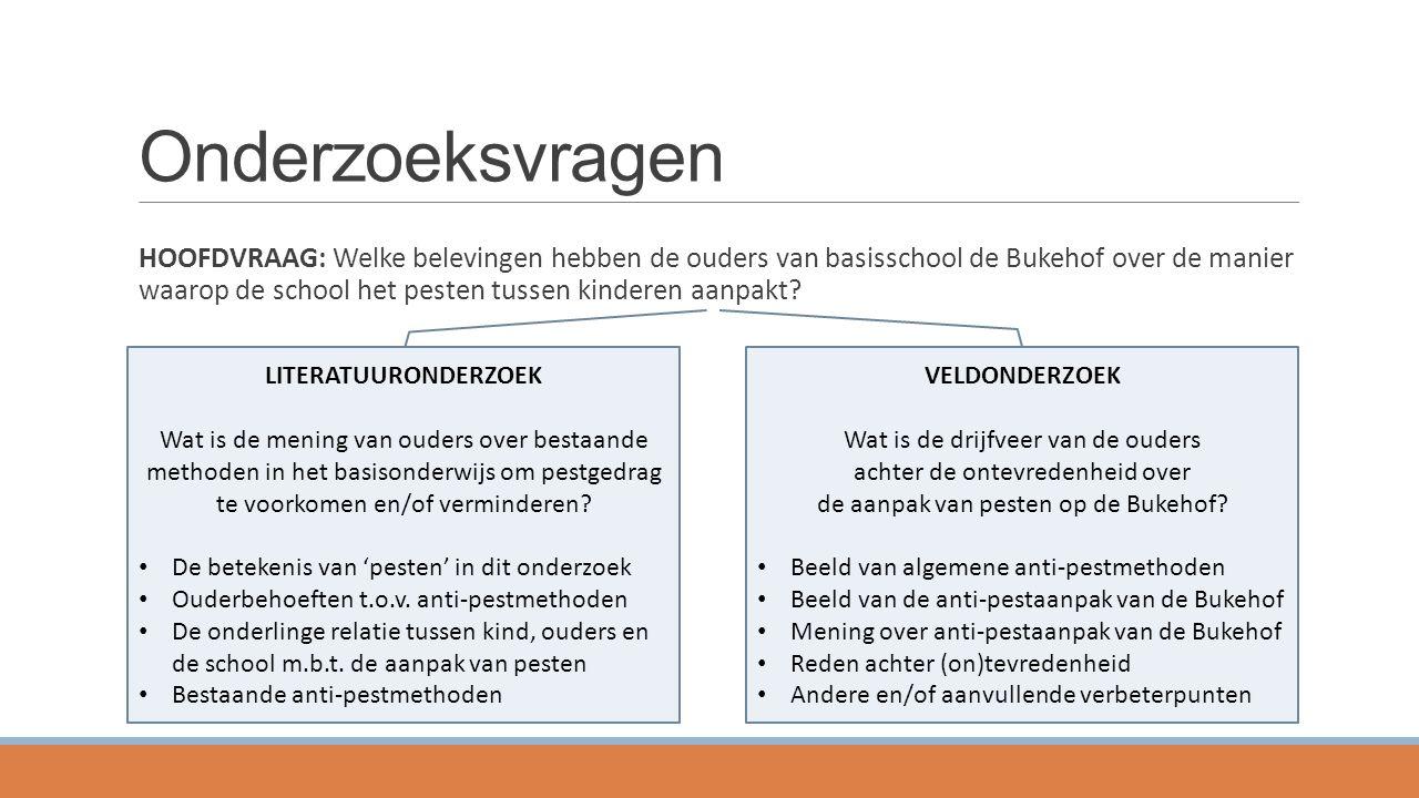Onderzoeksvragen HOOFDVRAAG: Welke belevingen hebben de ouders van basisschool de Bukehof over de manier waarop de school het pesten tussen kinderen a