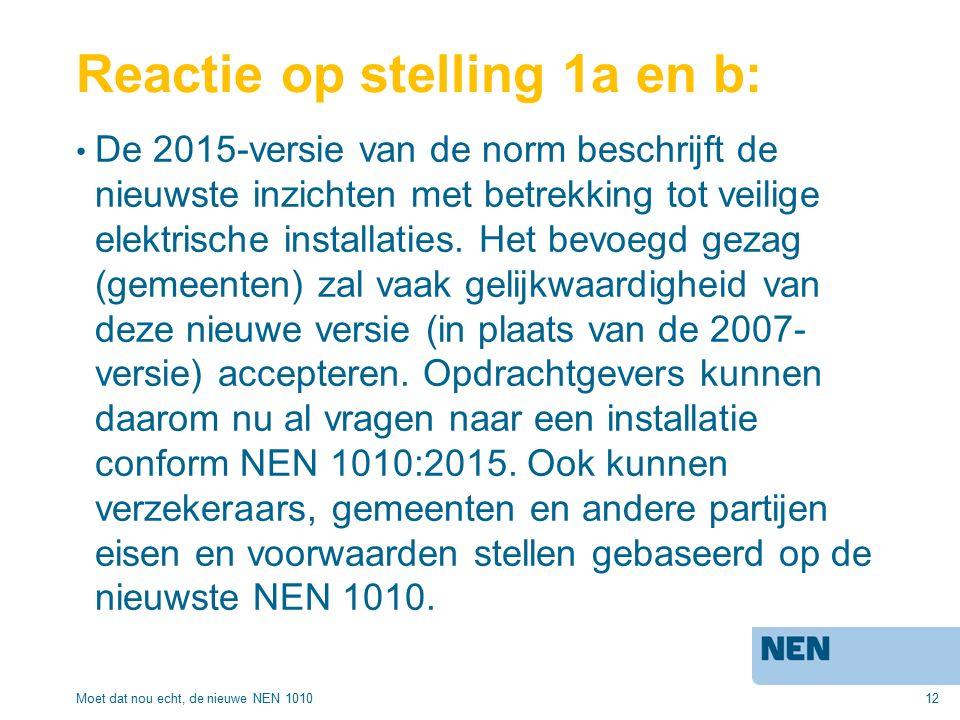12 Reactie op stelling 1a en b: De 2015-versie van de norm beschrijft de nieuwste inzichten met betrekking tot veilige elektrische installaties.