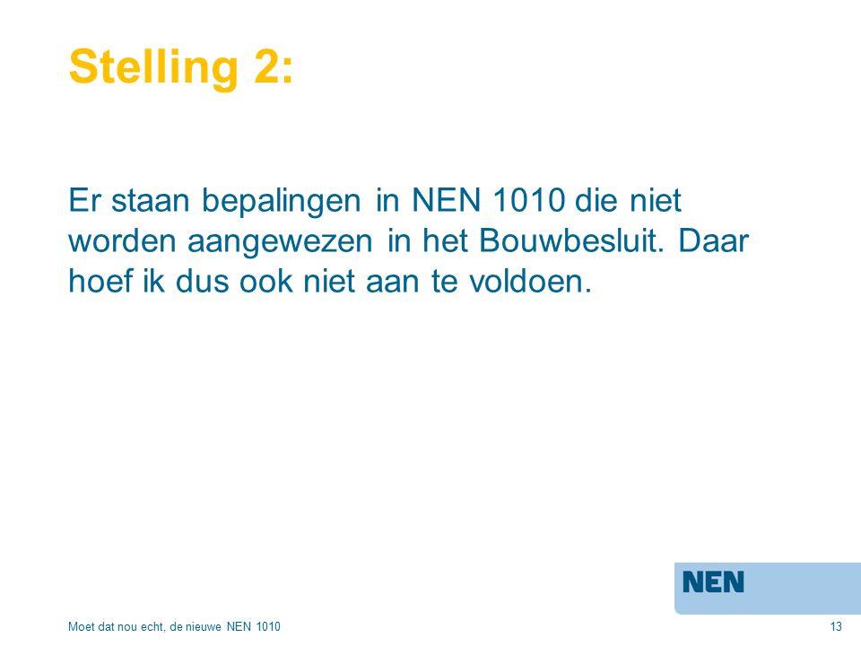 13 Stelling 2: Er staan bepalingen in NEN 1010 die niet worden aangewezen in het Bouwbesluit.