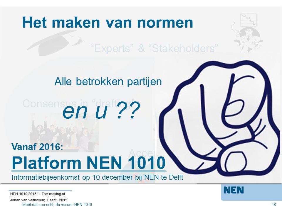 Het maken van normen 18 Acceptatie door grote (>2/3) meerderheid Experts & Stakeholders Alle betrokken partijen Consensus in drafting NEN 1010:2015 – The making of Johan van Velthoven; 1 sept.