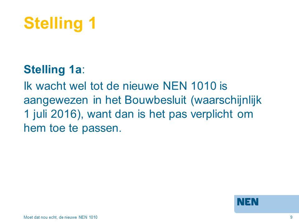 9 Stelling 1 Stelling 1a: Ik wacht wel tot de nieuwe NEN 1010 is aangewezen in het Bouwbesluit (waarschijnlijk 1 juli 2016), want dan is het pas verplicht om hem toe te passen.