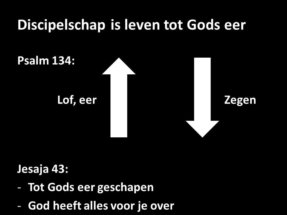 Discipelschap is leven tot Gods eer Psalm 134: Lof, eerZegen Jesaja 43: -Tot Gods eer geschapen -God heeft alles voor je over