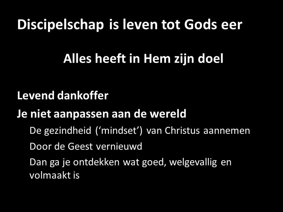 Discipelschap is leven tot Gods eer Alles heeft in Hem zijn doel Levend dankoffer Je niet aanpassen aan de wereld De gezindheid ('mindset') van Christ
