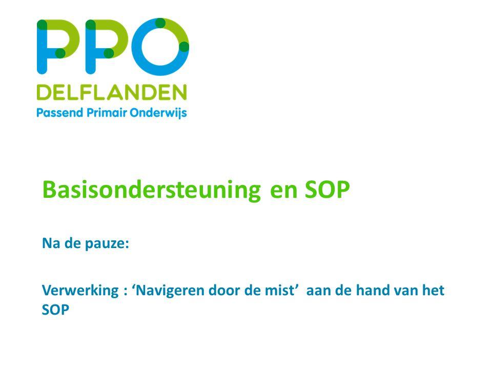 Basisondersteuning en SOP Na de pauze: Verwerking : 'Navigeren door de mist' aan de hand van het SOP