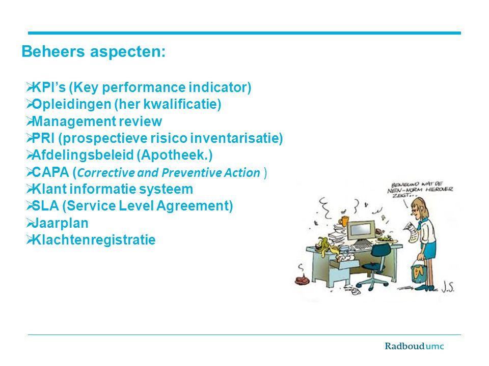 Beheers aspecten:  KPI's (Key performance indicator)  Opleidingen (her kwalificatie)  Management review  PRI (prospectieve risico inventarisatie)