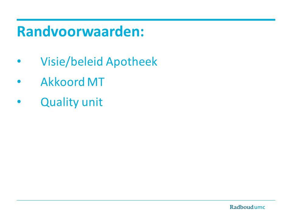 Randvoorwaarden: Visie/beleid Apotheek Akkoord MT Quality unit