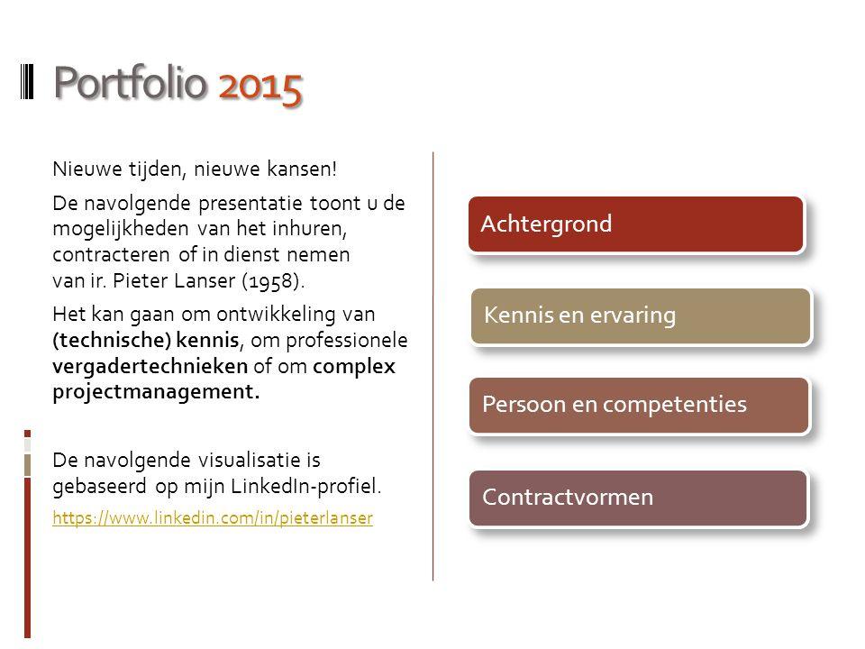 Portfolio 2015 Nieuwe tijden, nieuwe kansen! De navolgende presentatie toont u de mogelijkheden van het inhuren, contracteren of in dienst nemen van i