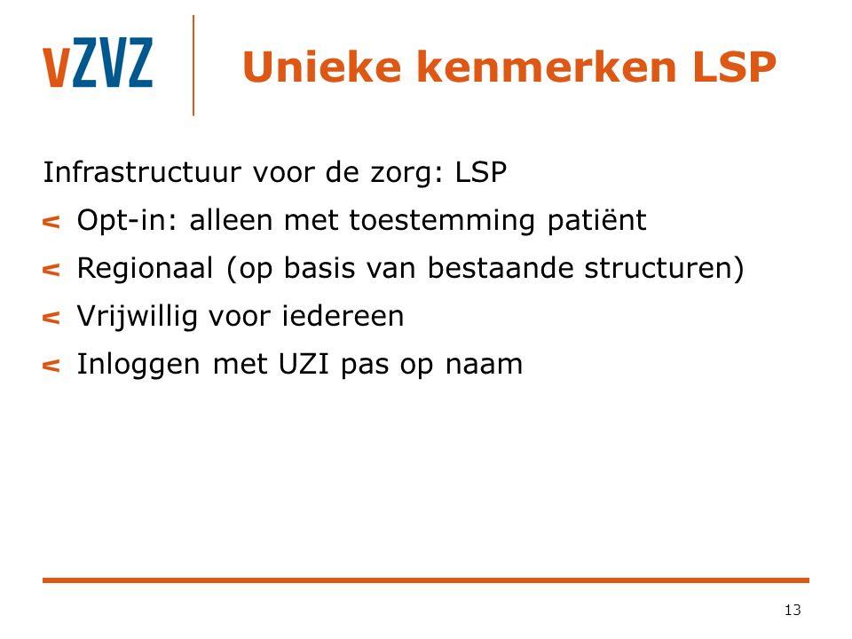 Unieke kenmerken LSP 13 Infrastructuur voor de zorg: LSP Opt-in: alleen met toestemming patiënt Regionaal (op basis van bestaande structuren) Vrijwill