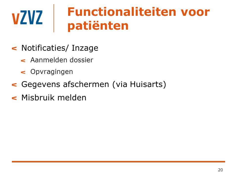 Functionaliteiten voor patiënten 20 Notificaties/ Inzage Aanmelden dossier Opvragingen Gegevens afschermen (via Huisarts) Misbruik melden