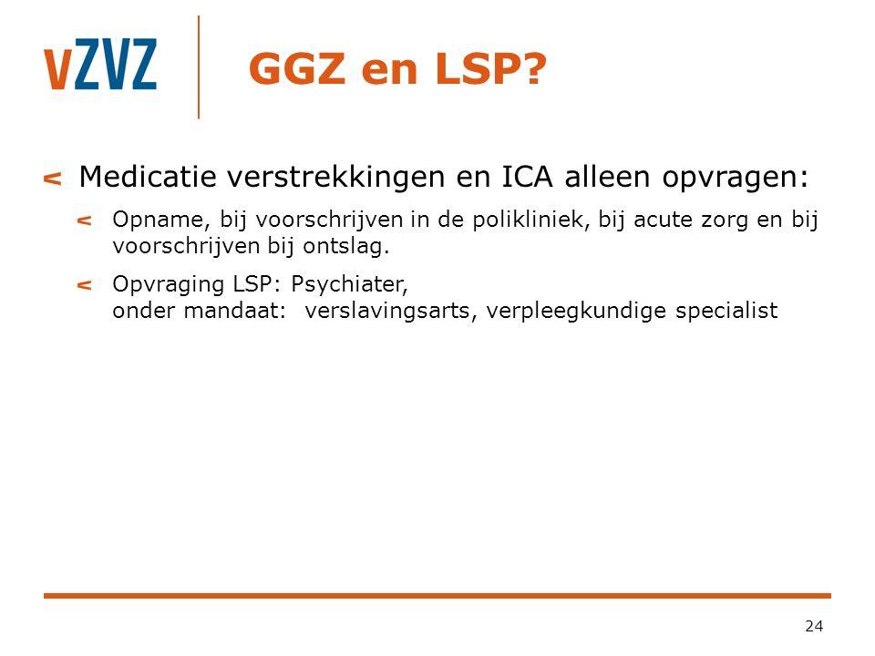 GGZ en LSP? 24 Medicatie verstrekkingen en ICA alleen opvragen: Opname, bij voorschrijven in de polikliniek, bij acute zorg en bij voorschrijven bij o