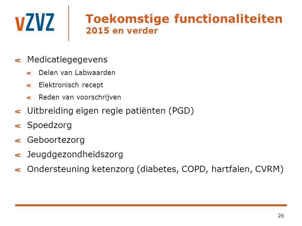 Toekomstige functionaliteiten 2015 en verder 26 Medicatiegegevens Delen van Labwaarden Elektronisch recept Reden van voorschrijven Uitbreiding eigen regie patiënten (PGD) Spoedzorg Geboortezorg Jeugdgezondheidszorg Ondersteuning ketenzorg (diabetes, COPD, hartfalen, CVRM)