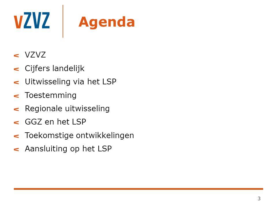 Agenda 3 VZVZ Cijfers landelijk Uitwisseling via het LSP Toestemming Regionale uitwisseling GGZ en het LSP Toekomstige ontwikkelingen Aansluiting op het LSP