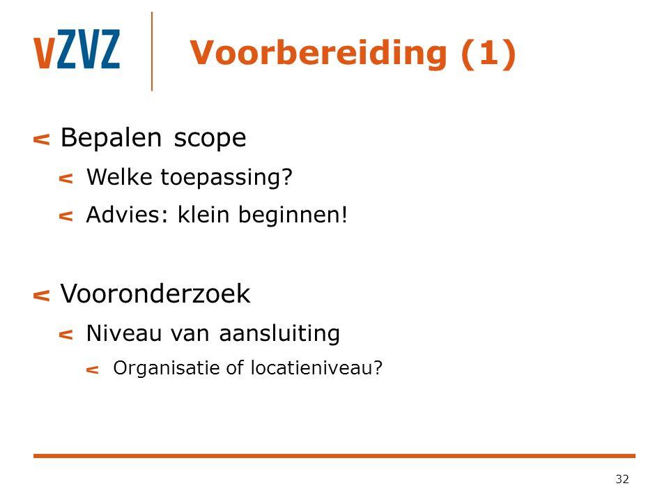 Voorbereiding (1) 32 Bepalen scope Welke toepassing? Advies: klein beginnen! Vooronderzoek Niveau van aansluiting Organisatie of locatieniveau?
