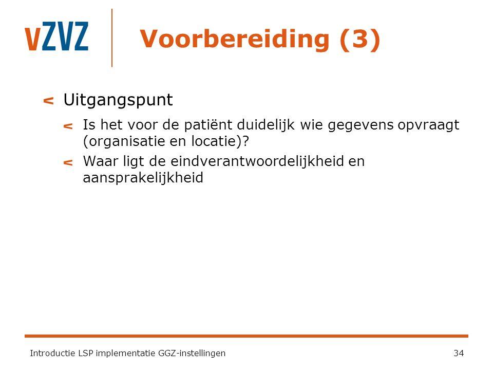 Voorbereiding (3) Introductie LSP implementatie GGZ-instellingen34 Uitgangspunt Is het voor de patiënt duidelijk wie gegevens opvraagt (organisatie en