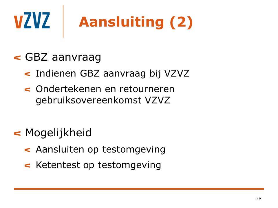Aansluiting (2) 38 GBZ aanvraag Indienen GBZ aanvraag bij VZVZ Ondertekenen en retourneren gebruiksovereenkomst VZVZ Mogelijkheid Aansluiten op testomgeving Ketentest op testomgeving