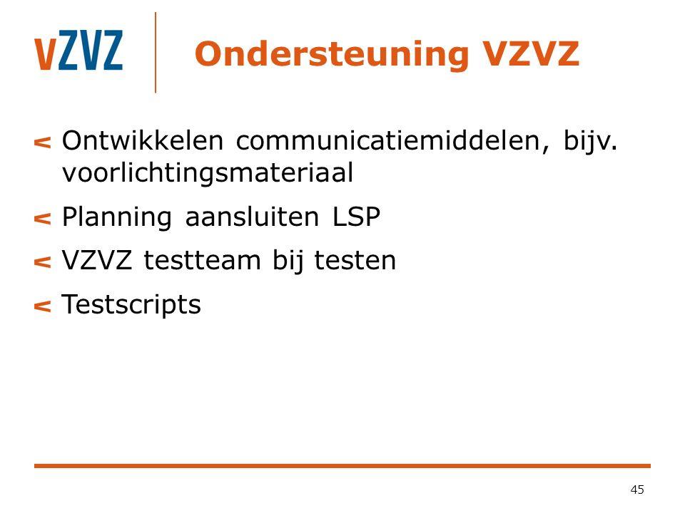 Ondersteuning VZVZ Ontwikkelen communicatiemiddelen, bijv. voorlichtingsmateriaal Planning aansluiten LSP VZVZ testteam bij testen Testscripts 45