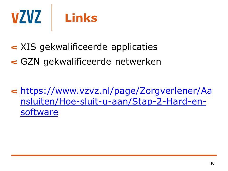 Links XIS gekwalificeerde applicaties GZN gekwalificeerde netwerken https://www.vzvz.nl/page/Zorgverlener/Aa nsluiten/Hoe-sluit-u-aan/Stap-2-Hard-en-