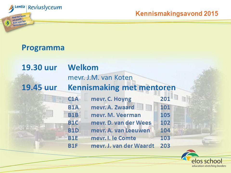 Kennismakingsavond 2015 Programma 19.30 uurWelkom mevr.