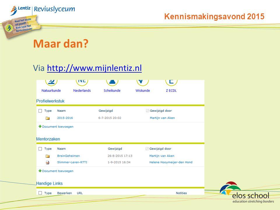 Kennismakingsavond 2015 Maar dan? Via http://www.mijnlentiz.nlhttp://www.mijnlentiz.nl