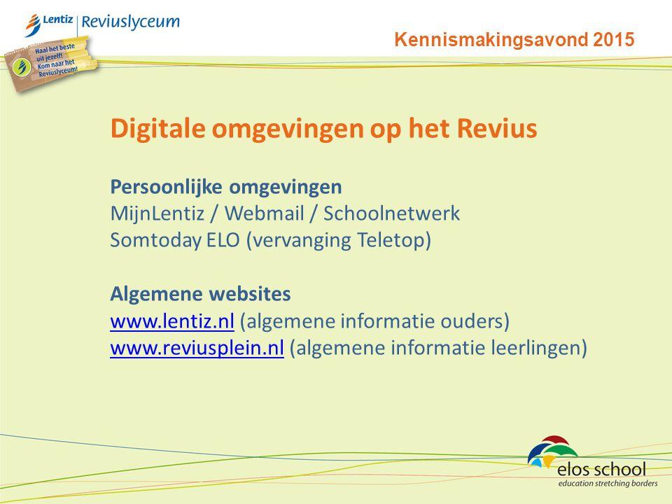 Kennismakingsavond 2015 Digitale omgevingen op het Revius Persoonlijke omgevingen MijnLentiz / Webmail / Schoolnetwerk Somtoday ELO (vervanging Teletop) Algemene websites www.lentiz.nlwww.lentiz.nl (algemene informatie ouders) www.reviusplein.nlwww.reviusplein.nl (algemene informatie leerlingen)