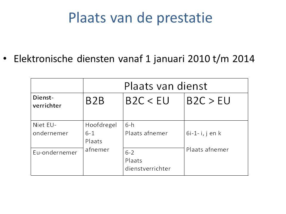 Plaats van de prestatie Elektronische diensten vanaf 1 januari 2010 t/m 2014