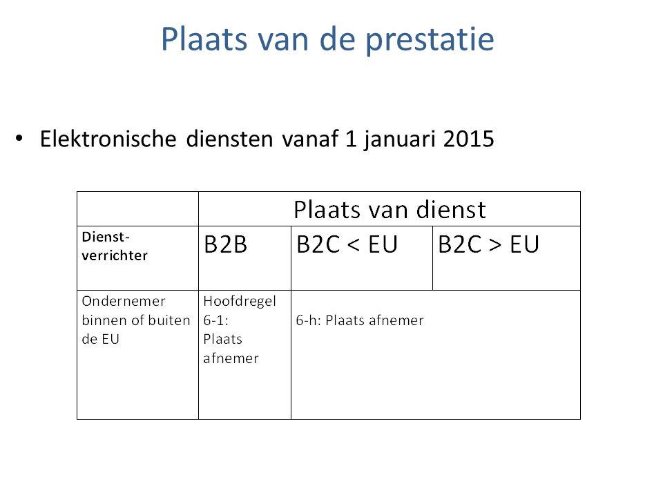 Plaats van de prestatie Elektronische diensten vanaf 1 januari 2015