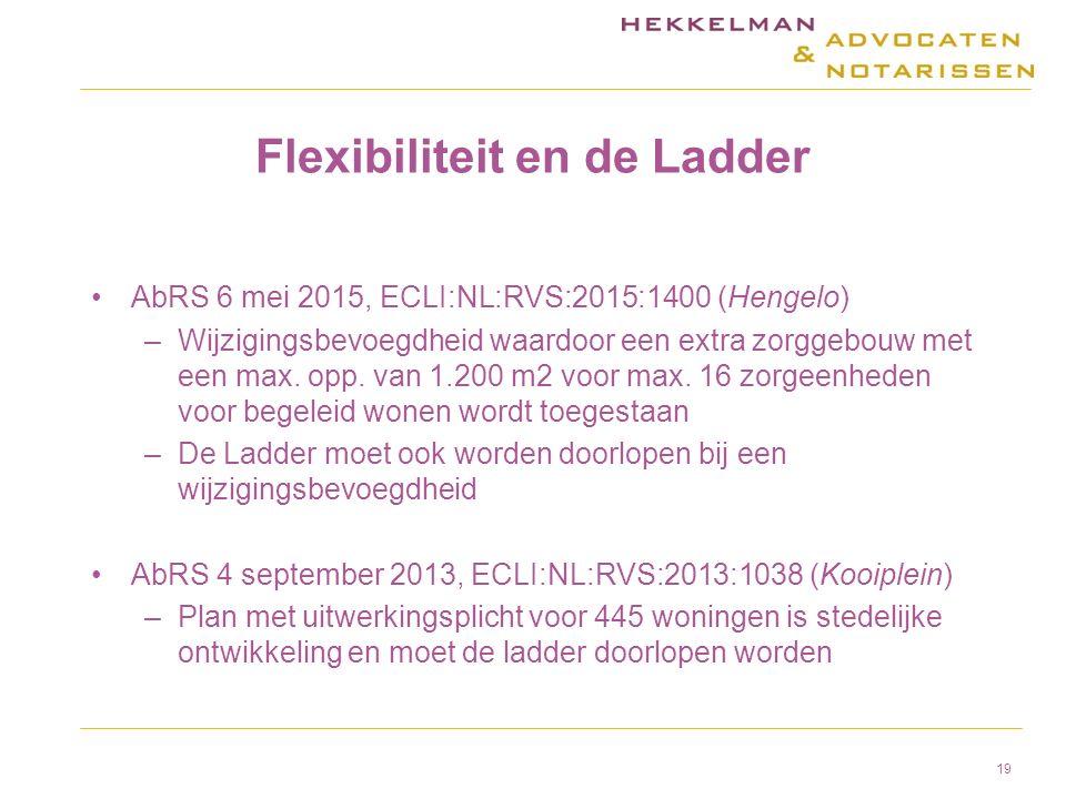 Flexibiliteit en de Ladder AbRS 6 mei 2015, ECLI:NL:RVS:2015:1400 (Hengelo) –Wijzigingsbevoegdheid waardoor een extra zorggebouw met een max.