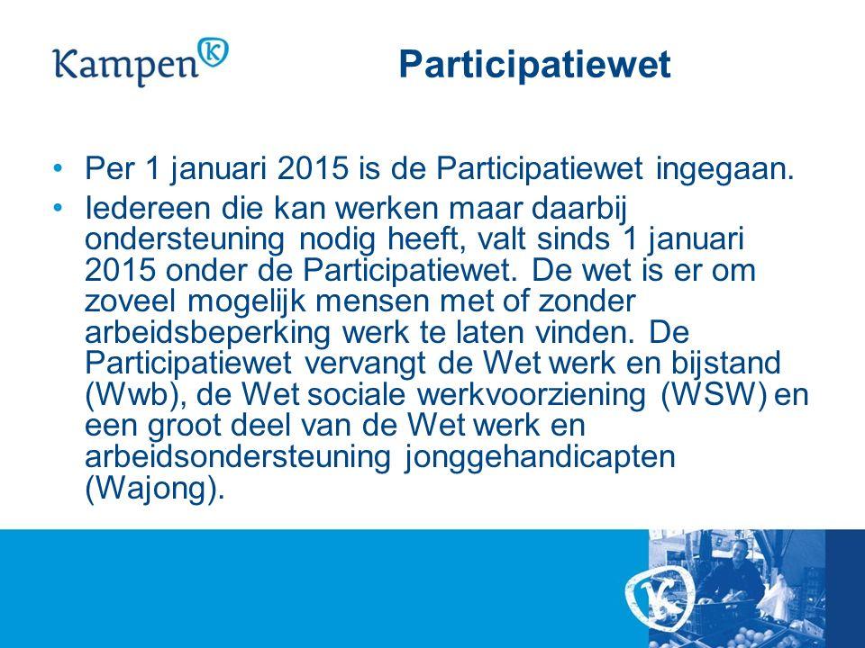 Participatiewet Per 1 januari 2015 is de Participatiewet ingegaan.