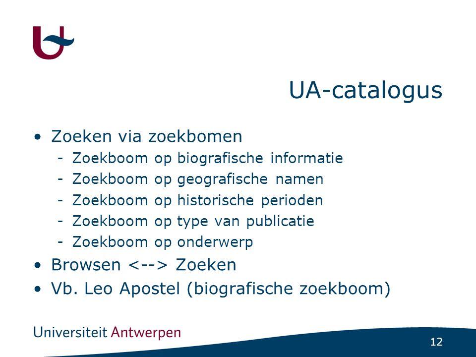 12 UA-catalogus Zoeken via zoekbomen -Zoekboom op biografische informatie -Zoekboom op geografische namen -Zoekboom op historische perioden -Zoekboom op type van publicatie -Zoekboom op onderwerp Browsen Zoeken Vb.