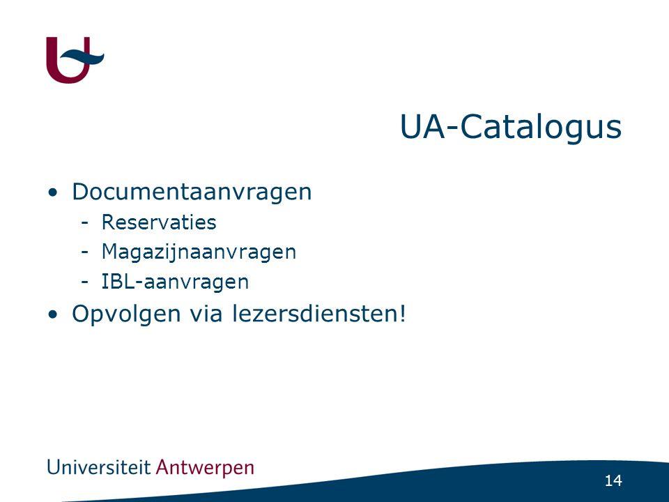 14 UA-Catalogus Documentaanvragen -Reservaties -Magazijnaanvragen -IBL-aanvragen Opvolgen via lezersdiensten!