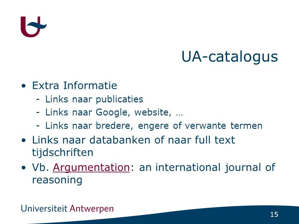 15 UA-catalogus Extra Informatie -Links naar publicaties -Links naar Google, website, … -Links naar bredere, engere of verwante termen Links naar databanken of naar full text tijdschriften Vb.