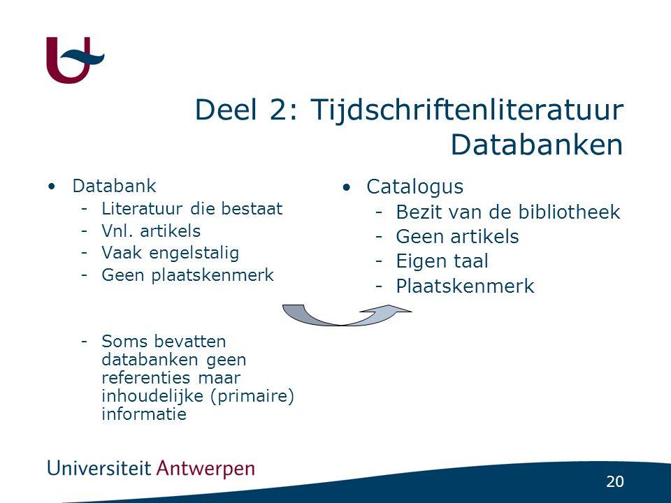 20 Deel 2: Tijdschriftenliteratuur Databanken Databank -Literatuur die bestaat -Vnl.