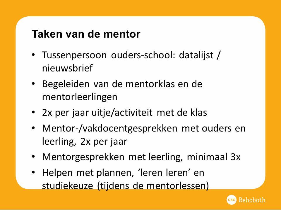 Taken van de mentor Tussenpersoon ouders-school: datalijst / nieuwsbrief Begeleiden van de mentorklas en de mentorleerlingen 2x per jaar uitje/activiteit met de klas Mentor-/vakdocentgesprekken met ouders en leerling, 2x per jaar Mentorgesprekken met leerling, minimaal 3x Helpen met plannen, 'leren leren' en studiekeuze (tijdens de mentorlessen)