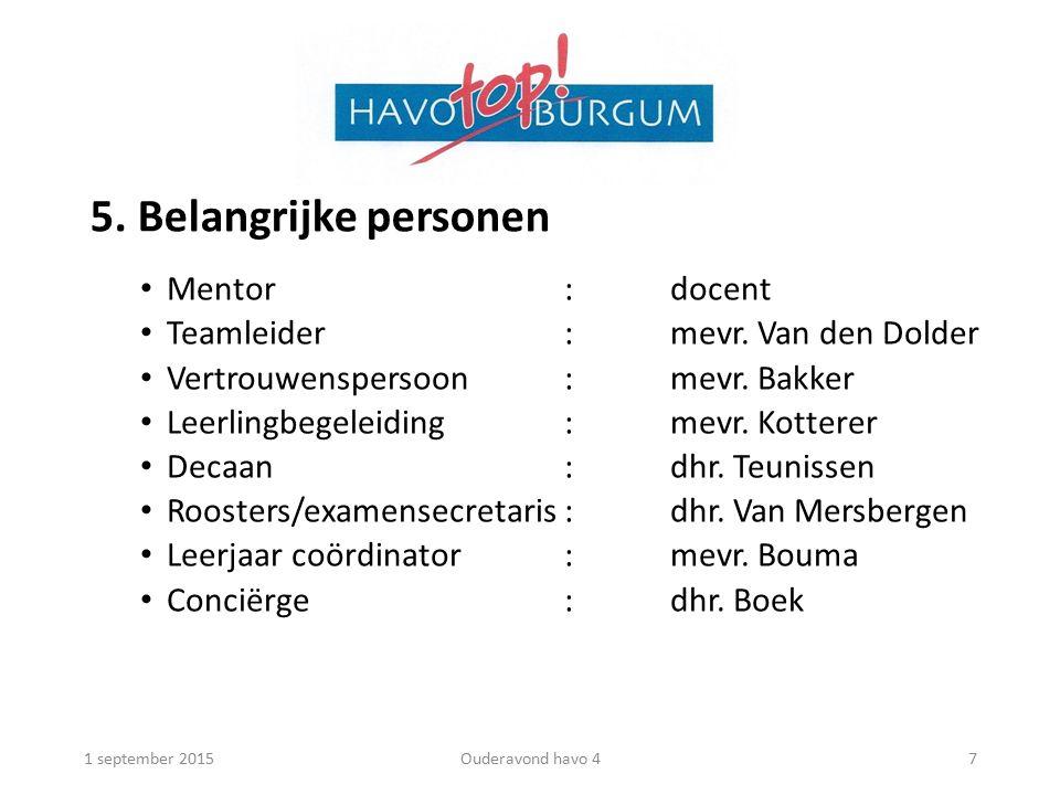 5. Belangrijke personen Mentor:docent Teamleider:mevr.