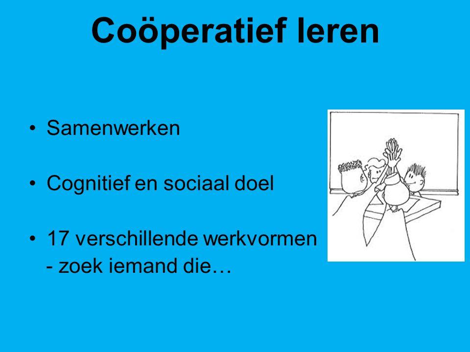 Coöperatief leren Samenwerken Cognitief en sociaal doel 17 verschillende werkvormen - zoek iemand die…