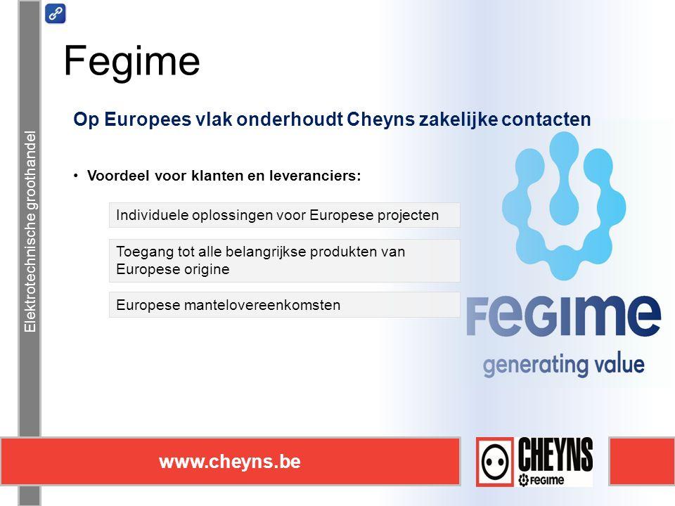 Elektrotechnische groothandel www.cheyns.be Fegime Elektrotechnische groothandel www.cheyns.be Op Europees vlak onderhoudt Cheyns zakelijke contacten Voordeel voor klanten en leveranciers: Individuele oplossingen voor Europese projecten Toegang tot alle belangrijkse produkten van Europese origine Europese mantelovereenkomsten