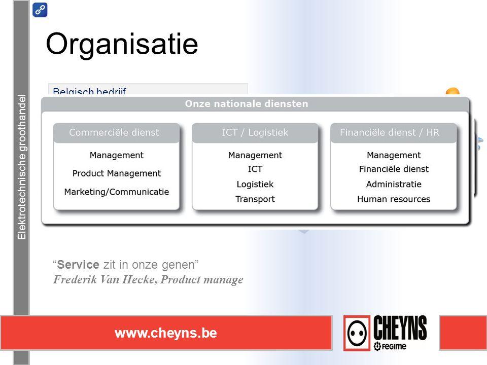 Elektrotechnische groothandel www.cheyns.be Elektrotechnische groothandel Service zit in onze genen Frederik Van Hecke, Product manager Organisatie www.cheyns.be Belgisch bedrijf Onafhankelijke groothandel Familiebedrijf 70 jaar ervaring 180 werknemers
