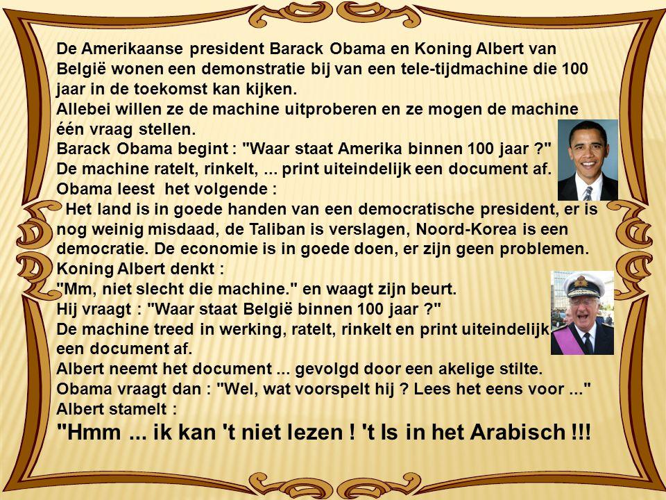 De Amerikaanse president Barack Obama en Koning Albert van België wonen een demonstratie bij van een tele-tijdmachine die 100 jaar in de toekomst kan kijken.